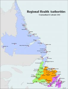 Telehealth sites in NL. (Map by NL Centre for Health Information, 2016)